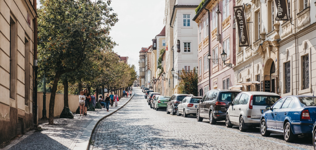 Prague, Czech republic - August 23, 2018: People walking on the cobblestone street in the Old Town in Prague, one of the oldest and the most beautiful district in Prague, Czech Republic.